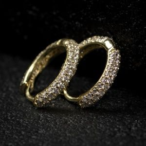 Top Quality Gold Fully Iced Thin Hoop Earrings